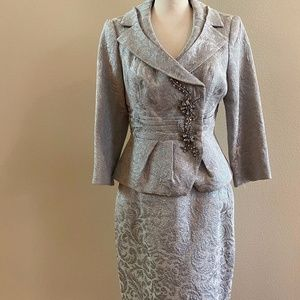 Kay Unger Silver Silk Suit